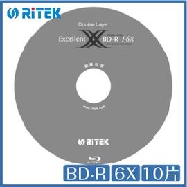 錸德 Ritek Blu~ray BD~R 6X 10片桶裝 BD 光碟