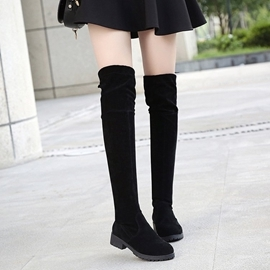 膝上靴  過膝長靴 女彈力 顯瘦 長筒靴 中跟 平底 坡跟 馬丁靴子  I1