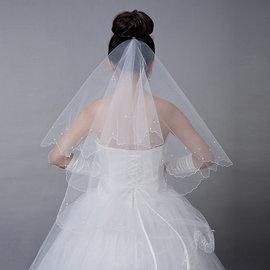 新娘頭紗凡妮莎 韓式珍珠頭紗1.5米 婚紗禮服飾品