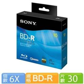 SONY 6X BD~R 25GB 藍光燒錄光碟片 30片 布丁裝 三菱雙頭筆一支