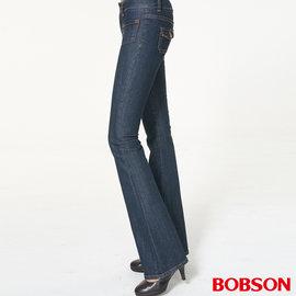 ~BOBSON~女款低腰貼口袋中喇叭褲 藍9012~52