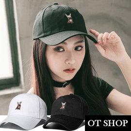 OT SHOP帽子•高質料車工法鬥刺繡•老帽棒球帽鴨舌帽• 街頭嘻哈休閒 • 黑色•C20