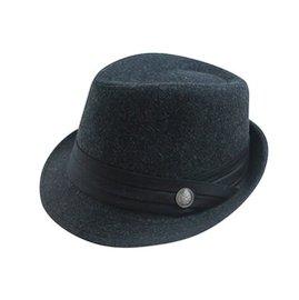 ~二鹿帽飾~ 限定 男帽女帽 ~   銅釦三折帶 緞帶 棉質毛料爵士帽~紳士帽~黑色