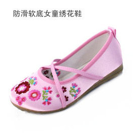 秀氣珠片小花園女童鞋老布鞋牛筋底兒童鞋絲帶繡花鞋女童單鞋舞蹈鞋5802 粉色 20碼 內長