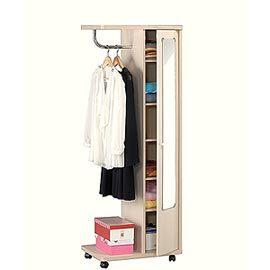 [單翼] 白橡木◇ACCESSCO◇三合一單身貴族活動收納衣櫃 (鏡櫃)