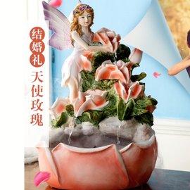 宅神【代購七天交貨】 532481175183 閨蜜結婚新婚禮物實用天使花仙女玫瑰花仙子裝飾品歐式流水噴泉水景創意