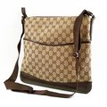 GUCCI 145857 經典緹花護底式側背包(咖啡)