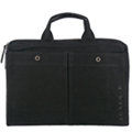 agnes b. 極簡風格帆布雙口袋公事包-黑
