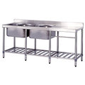 《日成》大廚房專用洗台-雙槽+平台 (寬180×深60×水槽深30cm)