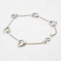 【9.5成新】TIFFANY 925純銀 心型一串心手環