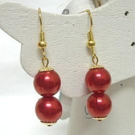 *真正買一送一商品*雙顆珍珠典雅穿式耳環(艷紅.金)【A00409】-可改夾式或其他穿式