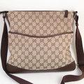 【9.9成新】 GUCCI 145857 經典緹花護底式側背包(咖啡)現金價$12,800