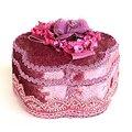 【玫瑰物語】古典藝術新娘紅色珠光寶氣#5號小首飾盒--紫 (花) 精緻珠寶盒包裝製物禮盒尺寸:11x 11cm 高6cm