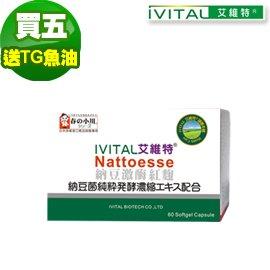 IVITAL艾維特®日本春之小川納豆激酶紅麴軟膠囊(60粒)「5盒TG魚油升級組」