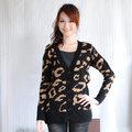 【ZARA】百搭款V領排釦豹紋針織長版外套(深咖) M