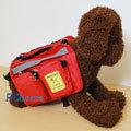 《小,中型狗專用》多用途小狗自己背寵物背包(紅色) 【附送:折疊碗、防水布】