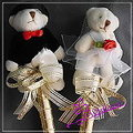 K022 情侶熊 簽名筆 一對 婚禮小物 台南市花店