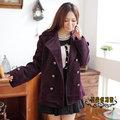 【ALicE】M049-1可拆式毛領~帥氣優質金扣短大衣-紫
