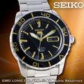 SEIKO 精工錶 國隆 SNZH57J1 盾牌五號 黑框金色刻度運動機械男錶_一年保固_開發票