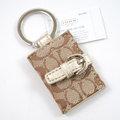 【全新現貨 優惠中】COACH 61848 經典C LOGO織布皮帶扣式照片鑰匙圈.金邊 情人節小飾品現金價$1,180