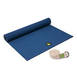 YOGA WALKER設計款瑜珈墊MY STYLE(藍)+有機棉伸展帶(八尺)