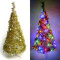 心可樂活 ● 180CM銀藍色系聖誕裝飾四角樹塔+LED100燈插電式燈串(藍白光-附控制器)