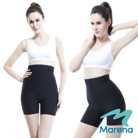 ~美國 MARENA~魔塑高腰三分褲 顯瘦機能安全褲~黑~
