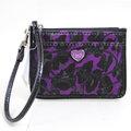 【全新現貨 優惠中】COACH 48101 POPPY系列藝術花朵塗鴉掛鈎式卡片鑰匙零錢包.紫現金價$1,680