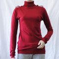 【ZARA】TRF高貴典雅肩飾高領針織上衣(紅) M