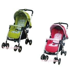 babybabe-附蚊帳雙向加寬秒縮車(綠色/ 紅色)B888R12