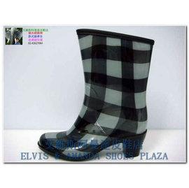 批發價790 RK-1雨鞋811黑格*高跟捲邊中筒雨靴*(MADE IN CHINA)款式顏色最齊全請找*艾維斯阿曼達皮鞋店*