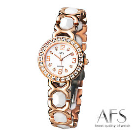 【AFS 富柏】法式典藏 - 陶瓷玫瑰金仕女腕錶-白(25mm)