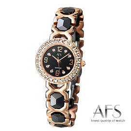 【AFS 富柏】法式典藏 - 陶瓷玫瑰金仕女腕錶-黑(25mm)