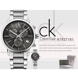 瑞士 CK手錶 Calvin Klein 國隆 K7627161 經典三眼男錶(李大仁款)保固一年_開發票_(另有K7627126)黑白兩色