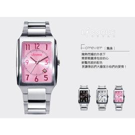 柒彩年代˙經典簡約數字方形全不鏽鋼腕錶 力抗LICORNE手錶 藍寶石鏡片公司貨【NE552】單支