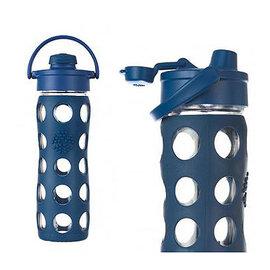 美國唯樂Lifefactory 繽紛玻璃飲水瓶450ml深藍 LF224002