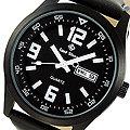 【滾石鐘錶】Glad Stone葛萊斯頓 台灣製造生產 SEIKO精工VX43石英機芯 真皮錶帶《海軍黑色》42mm軍用腕錶 型號:軍-05