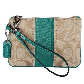 【COACH】F49174新款經典織紋綠色帶手拿包