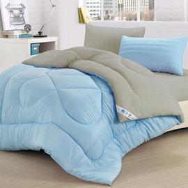 【精靈工廠】吸濕排汗防螨抑菌1.3kg-雙色羽絲絨被6x7呎-藍+灰(B0808-NS)