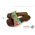 ◎g-shoes木鞋工坊 ◎D43011-3可愛牛牛涼夏低跟木屐(吸濕排汗)