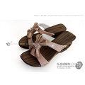 ◎g-shoes shop ◎**木屐** E75031-13工字蝴蝶結古復造型跟木屐(吸濕排汗)