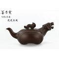 【善奇窯】~鶯歌本土紫砂壺~虎虎生風茶壺/ 紫泥/ 200cc