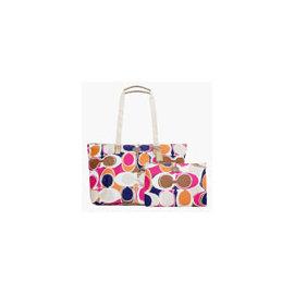 《COACH》F77419經典尼龍印花皮飾邊旅行袋(普普風)