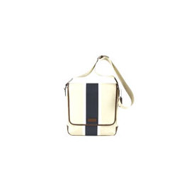 《COACH》F70885新款米白單寧藍色飾邊翻蓋斜背包