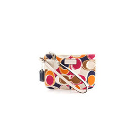 《COACH》F49166普普風彩繪緞面手拿包(白/彩)