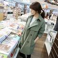 韓國妹【ehp0369】 早春時尚感長版風衣。 2色預購