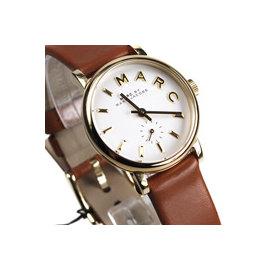 54812dfd9744 PChome Online 商店街- 時間玩家專業手錶店- MBM1317國際精品錶Marc Jacobs 雅仕純色圓錶.金色不鏽鋼白面小 秒盤,27mm防水50M咖啡皮帶女錶