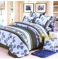 ==YvH==Polyester  18葉脈(灰色) 雙人薄床罩枕套組 全印花床裙夏罩 帝王折綁帶歐式床裙