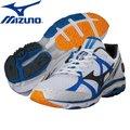 【美津濃MIZUNO】一般型WAVE RIDER 17 緩衝型慢跑鞋 (白色+藍條) J1GC140407 Super WIDE超寬楦4E