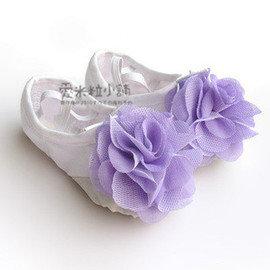 花朵鞋~白鞋紫花 兒童芭蕾舞鞋 舞蹈 跳舞 拉丁有氧體操國標 表演比賽 ~愛米粒~22~4